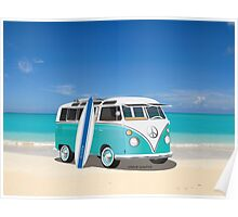Hippie Split Window VW Bus Teal & Surfboard & Ocean Poster