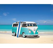 Hippie Split Window VW Bus Teal & Surfboard & Ocean Photographic Print