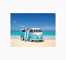 Hippie Split Window VW Bus Teal & Surfboard & Ocean Unisex T-Shirt