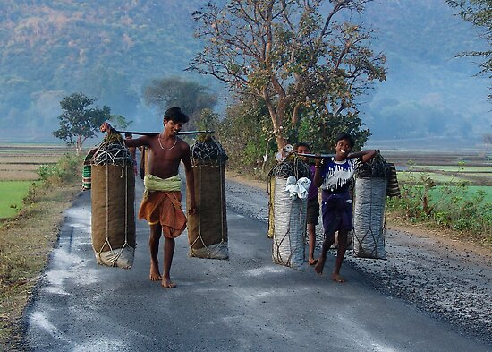 CHARCOAL RUNNERS - ORISSA by Michael Sheridan