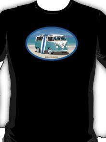 Hippie Split Window VW Bus Teal & Surfboard Oval T-Shirt