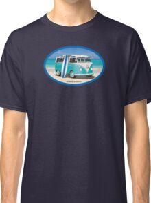 Hippie Split Window VW Bus Teal & Surfboard Oval Classic T-Shirt