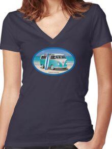 Hippie Split Window VW Bus Teal & Surfboard Oval Women's Fitted V-Neck T-Shirt