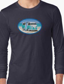 Hippie Split Window VW Bus Teal & Surfboard Oval Long Sleeve T-Shirt