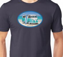 Hippie Split Window VW Bus Teal & Surfboard Oval Unisex T-Shirt
