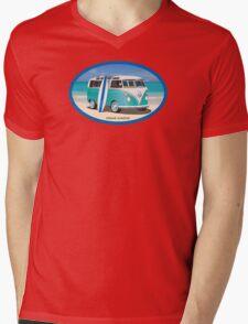 Hippie Split Window VW Bus Teal & Surfboard Oval Mens V-Neck T-Shirt