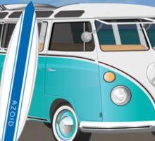 Hippie Split Window VW Bus Teal & Surfboard Oval Sticker