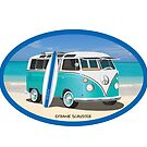Hippie Split Window VW Bus Teal & Surfboard Oval by Frank Schuster