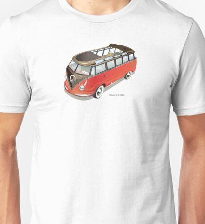 Split 23 Window VW Bus Red Black Old Style Unisex T-Shirt