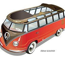 Split 23 Window VW Bus Red Black Old Style by Frank Schuster