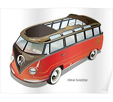 Split 23 Window VW Bus Red Black Old Style Poster