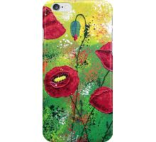 Red Poppies Aglow iPhone Case/Skin