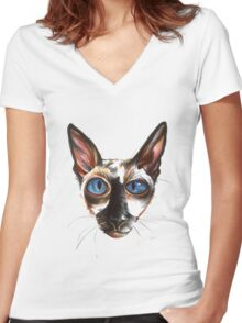 Die Katze Women's Fitted V-Neck T-Shirt