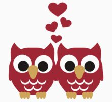 Red owls hearts by Designzz