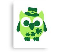 Cute irish shamrock owl Canvas Print