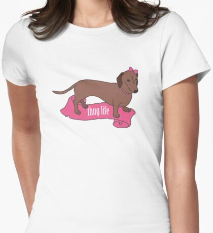Thug Life - Vaguely Menacing Puppies with Bows #2 Womens Fitted T-Shirt