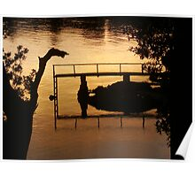 Reflections in golden water Poster