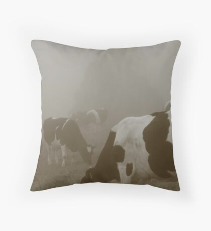 Cows in the mist Throw Pillow