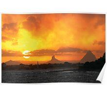 Sunset over Glasshouse Poster