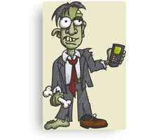 Zombie with Cell Phone Canvas Print