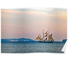 A Yacht at Sunset Poster