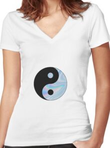 Holographic Yin Yang Women's Fitted V-Neck T-Shirt