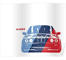 BMW 3 Series (E30) Grungy M stripe overlay Poster