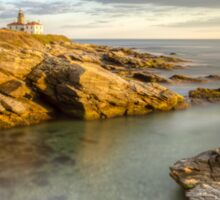 Beavertail Lighthouse at Sunset Sticker