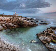 Beavertail Lighthouse at Sunset by Joshua McDonough Photography