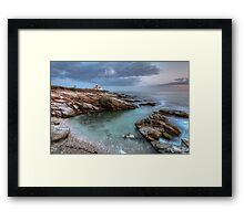 Beavertail Lighthouse at Sunset Framed Print