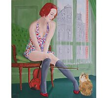 Distraction,girl plays with cat Photographic Print