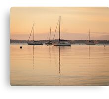 Sunrise Sailboats at Anchor Canvas Print