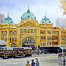 Flinders Street Station and tram, Melbourne by Virginia  Coghill
