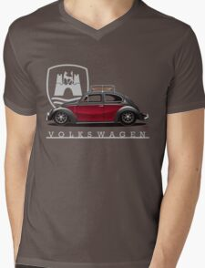 Black and Red Beetle Mens V-Neck T-Shirt