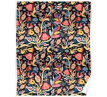 Bright floral pattern with birds Poster