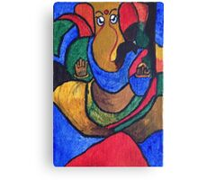 Colorful Lord Ganesha Acrylic Painting Canvas Print