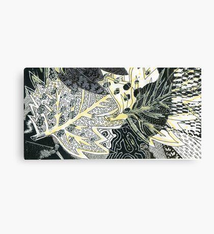 Leaves 28 Mixed Media - Ink on Acrylic Monoprint Canvas Print