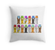 Stroke Recovery with cartoon cats. Throw Pillow