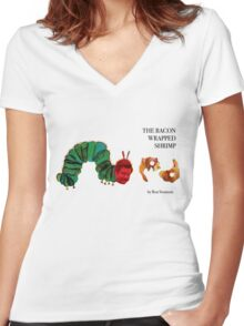 The Bacon Wrapped Shrimp Women's Fitted V-Neck T-Shirt