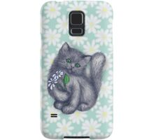 Cute Kitten with Daisies Samsung Galaxy Case/Skin