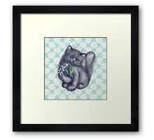 Cute Kitten with Daisies Framed Print