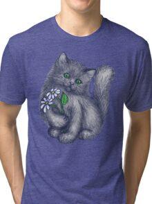 Cute Kitten with Daisies Tri-blend T-Shirt