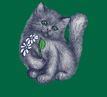Cute Kitten with Daisies Womens Fitted T-Shirt