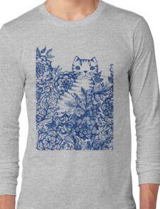 Garden Cat Doodle Long Sleeve T-Shirt