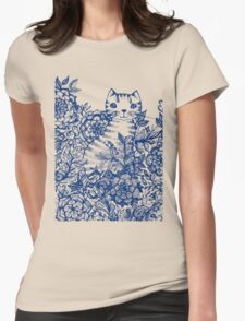 Garden Cat Doodle Womens Fitted T-Shirt