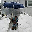 A Beach Umbrella In A Snow Storm by Jane Neill-Hancock