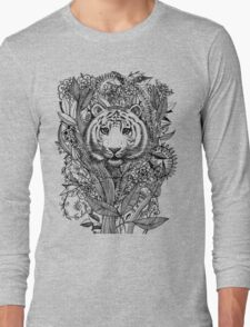 Tiger Tangle in Black and White Long Sleeve T-Shirt