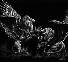 Warring Griffons by SMorrisonArt