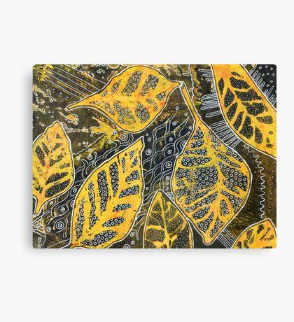 Leaves 23 Mixed Media - Ink on Acrylic Monoprint Canvas Print