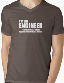 Engineer Funny Geek Nerd Mens V-Neck T-Shirt